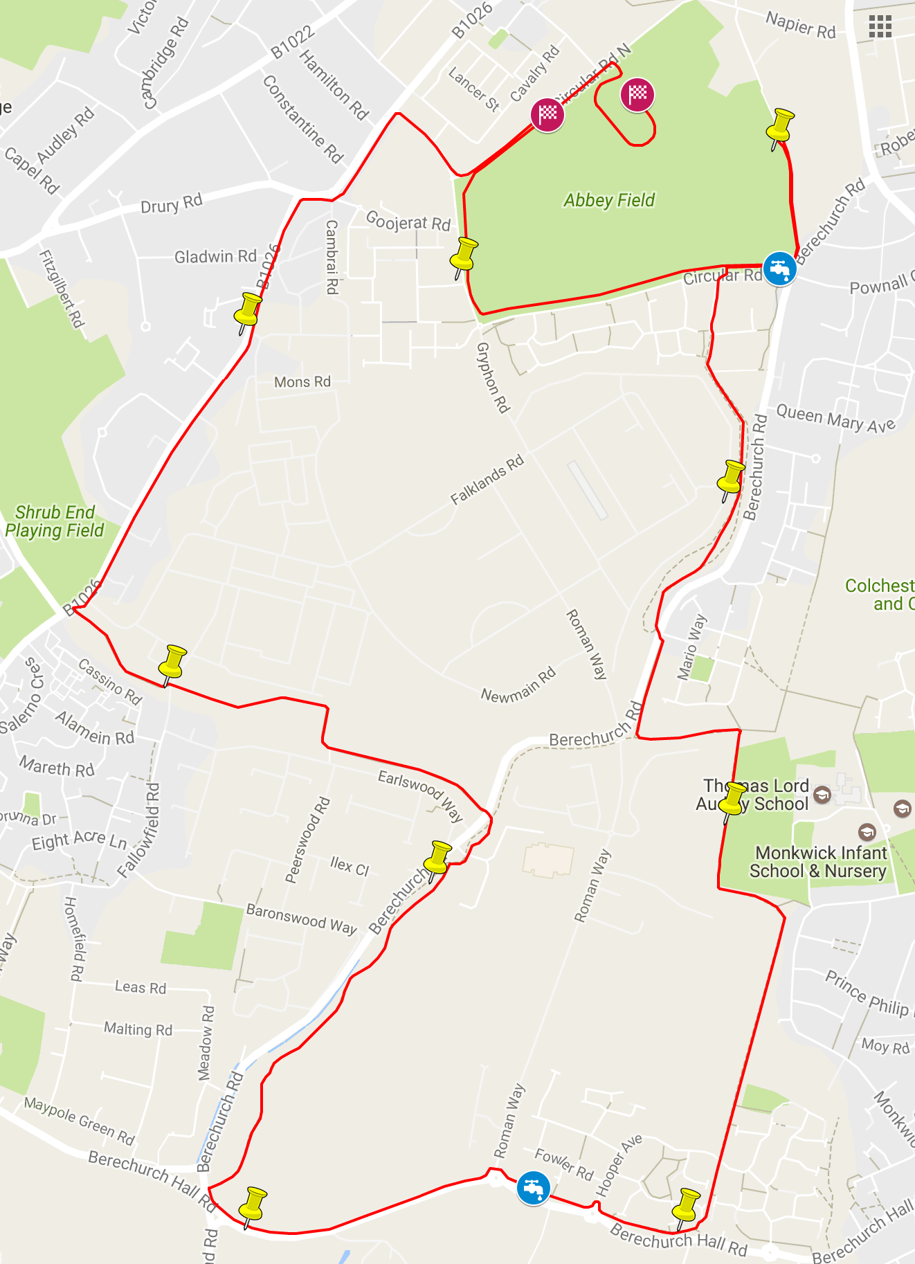 Colchester K Route - Google maps jogging route